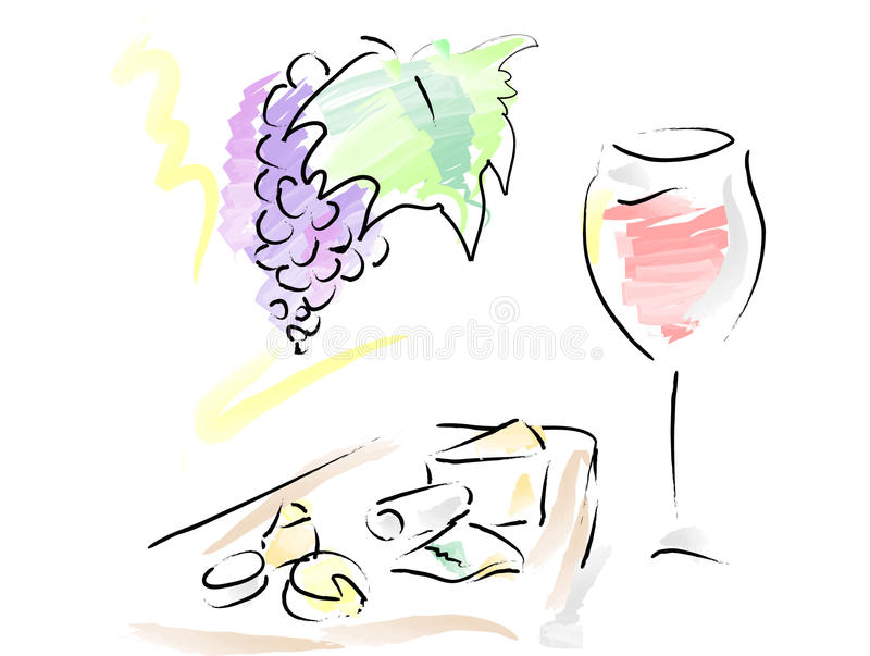 French wine and cheese plate stock photos