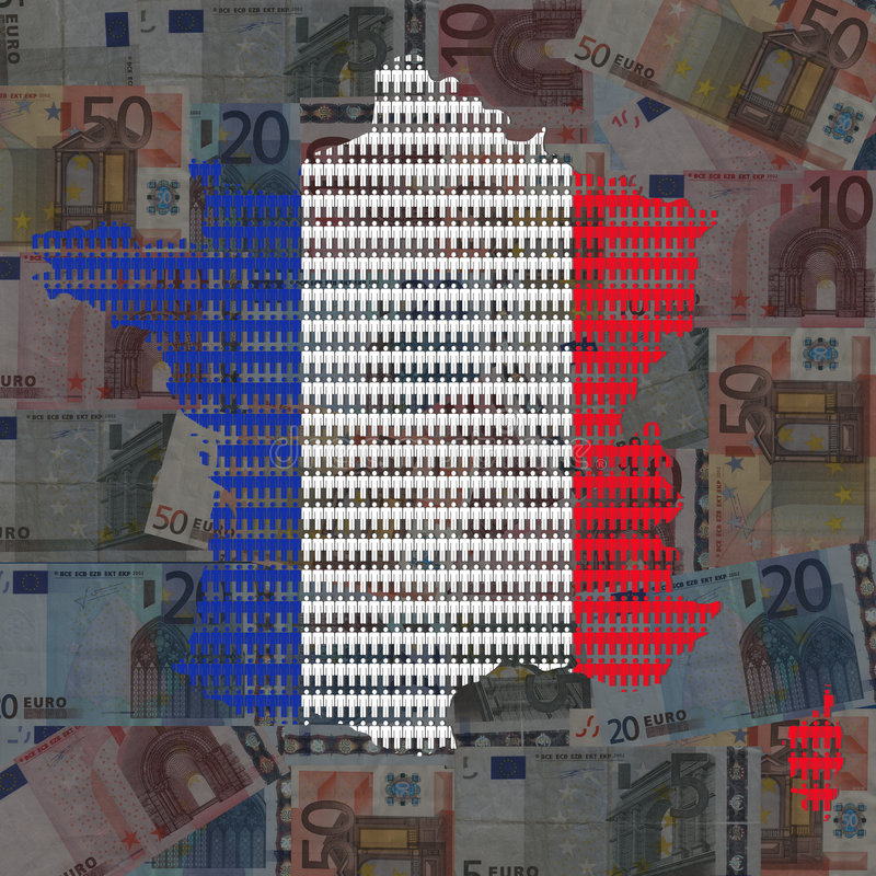 French workforce map on euros royalty free illustration