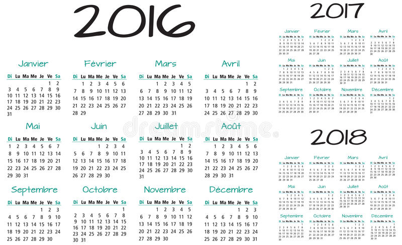 French 2016 2017 and 2018 year vector calendar vector illustration