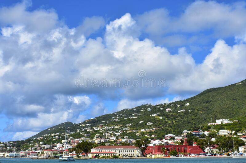 Frenchman`s cove, St. Thomas, United States Virgin Islands. Caribbean Sea Coastline, Vacation Destination, Beach With Palm Trees, Tropical Travel, Scenic stock image