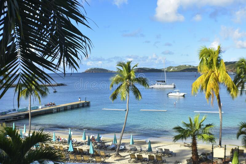 Frenchman`s cove, St. Thomas, United States Virgin Islands. Caribbean Sea Coastline, Vacation Destination, Beach With Palm Trees, Tropical Travel, Scenic royalty free stock images