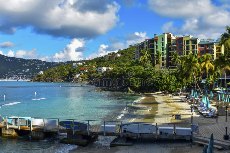 Frenchman`s cove, St. Thomas, United States Virgin Islands. Caribbean Sea Coastline, Vacation Destination, Beach With Palm Trees, Tropical Travel, Scenic stock images