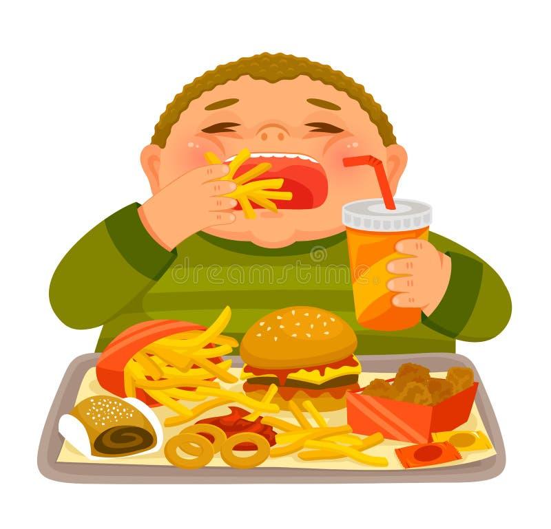 Frenesi do menino que come a comida lixo ilustração royalty free