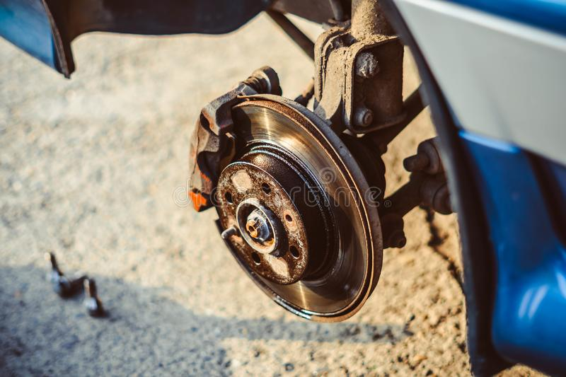 Freno de disco del vehículo para la reparación fotos de archivo libres de regalías