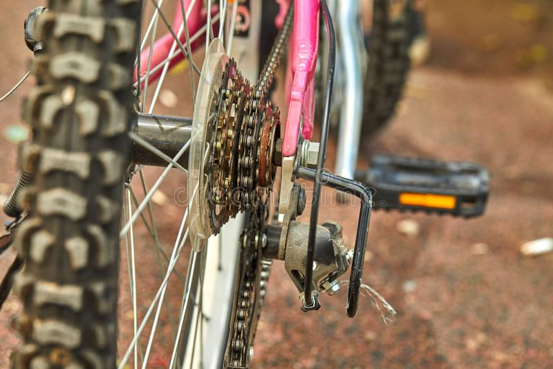 Freno de rueda posterior de las piezas de la bicicleta imagen de archivo