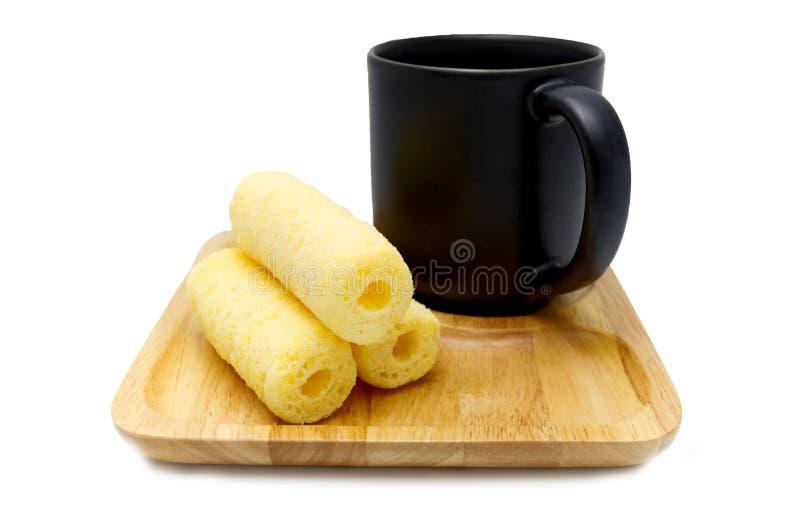Freno del caffè dei bastoni croccanti dolci del cereale fotografia stock libera da diritti