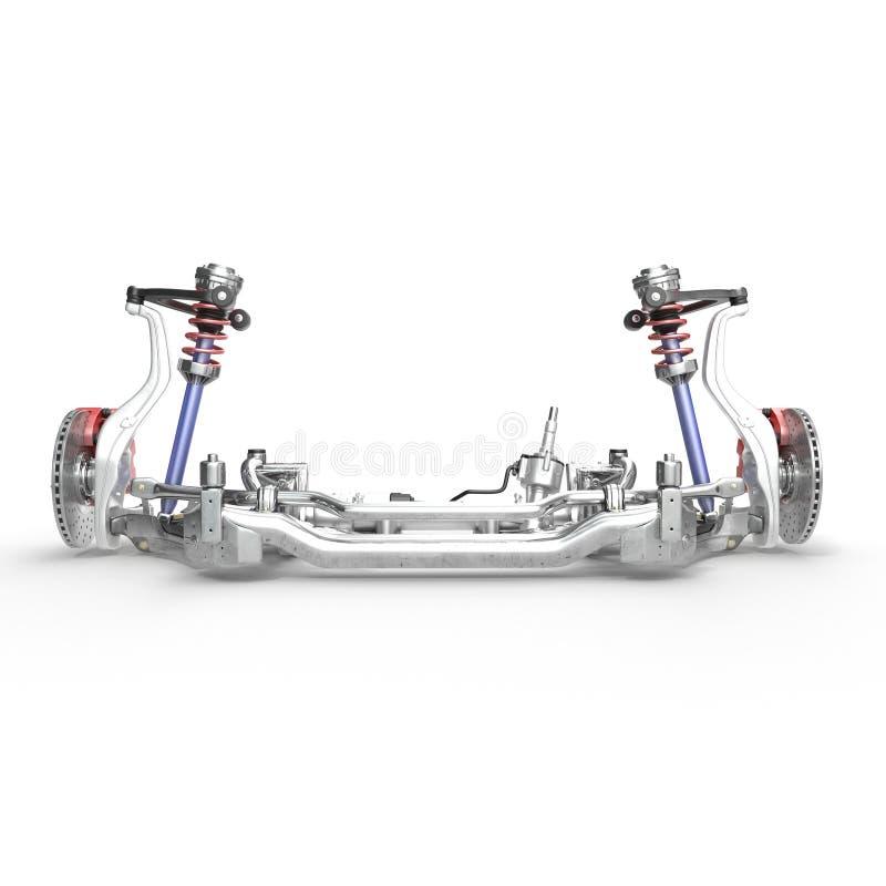 Freno a disco dell'automobile con il calibro rosso e sospensione anteriore su bianco illustrazione 3D illustrazione di stock