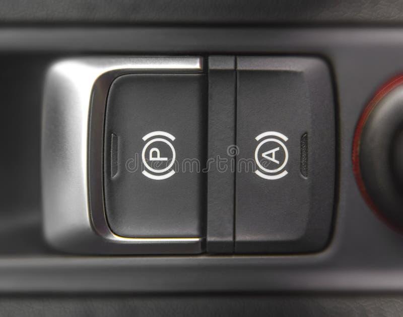 Freno elettronico dell'automobile e freno di stazionamento elettronico in nuova automobile moderna immagini stock