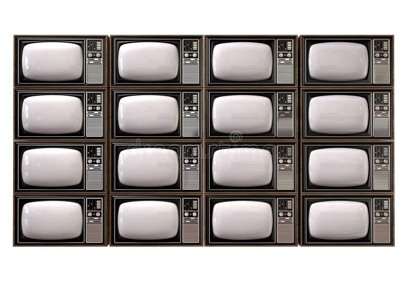 Frente aislado pila del vintage TV ilustración del vector