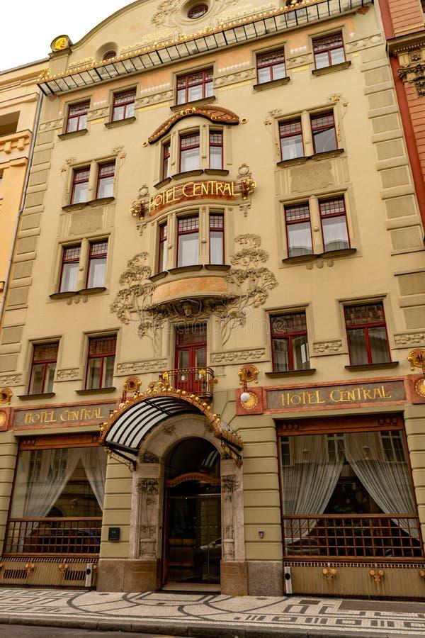 Frente de la central del hotel en Praga fotografía de archivo