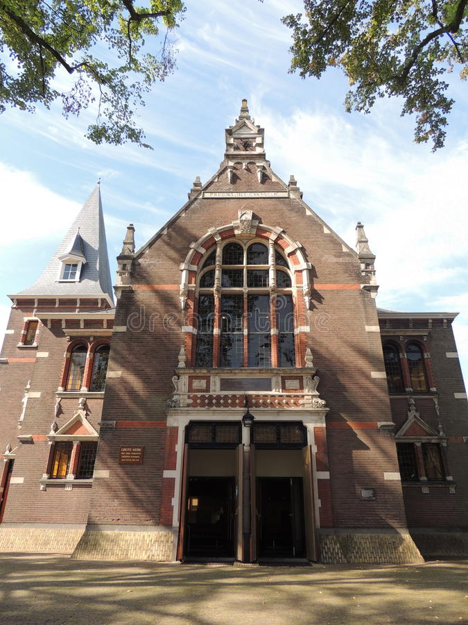 Frente de la iglesia grande, Hilversum, Países Bajos foto de archivo