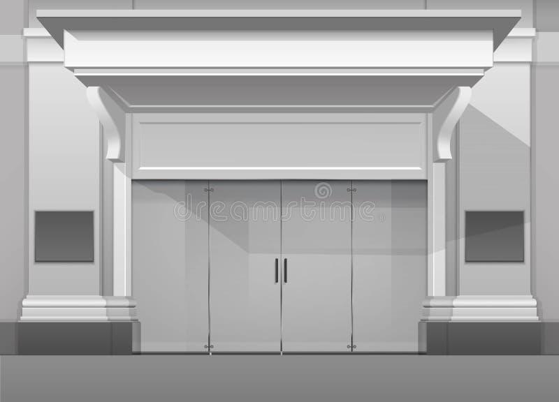 Frente de la tienda del edificio comercial con la puerta de cristal cerrada ilustración del vector