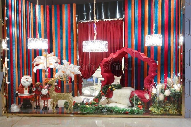 Frente de la ventana de tienda de la ventana de la tienda de ventana de exhibición de la Navidad foto de archivo
