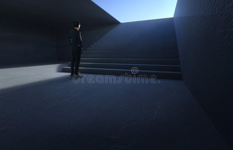 Frente de mirada y de pensamiento del hombre de negocios del escaleras concretas imagen de archivo