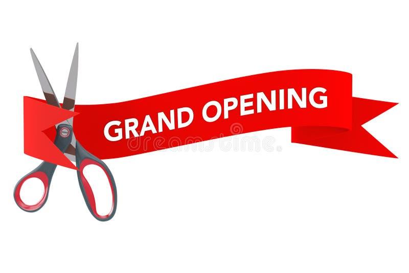 Frente de Scissorsin de la cinta roja con la muestra de la gran inauguración rende 3D libre illustration