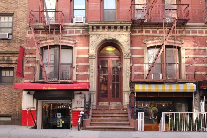 Frente de un edificio en el Greenwich Village, New York City imagen de archivo