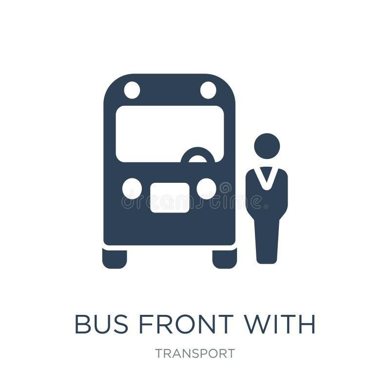 frente del autobús con el icono del conductor en estilo de moda del diseño frente del autobús con el icono del conductor aislado  stock de ilustración
