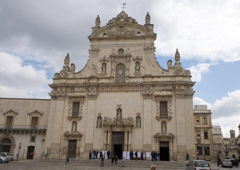 Frente del dei Santi Pietro e Paolo Galatina Italy de Chiesa Madre fotografía de archivo libre de regalías