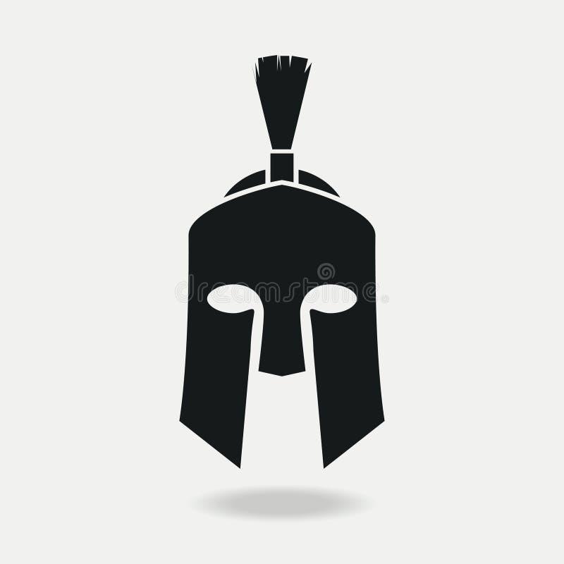 Frente del icono de Spartan Helmet Armadura principal griega o romana para el gladiador, legionario Vector ilustración del vector