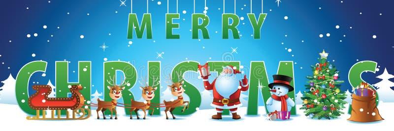 Frente del soporte del árbol de Papá Noel, del reno, del regalo, del muñeco de nieve y de Navidad de b stock de ilustración