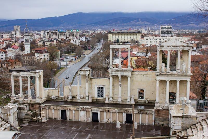 Frente del teatro romano de Plovdiv fotografía de archivo libre de regalías