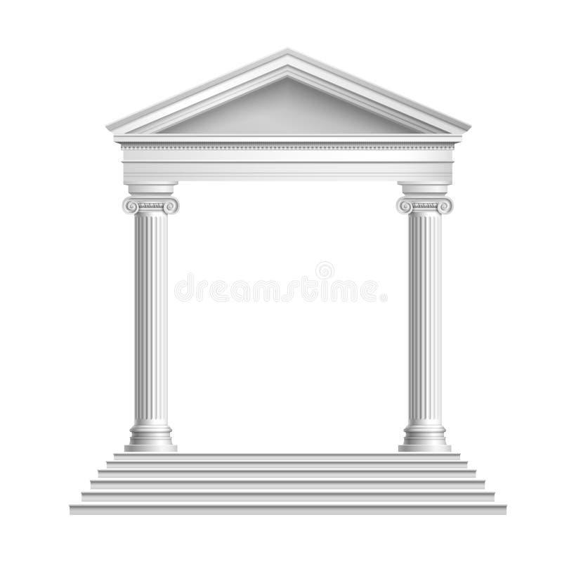 Frente del templo con las columnas ilustración del vector