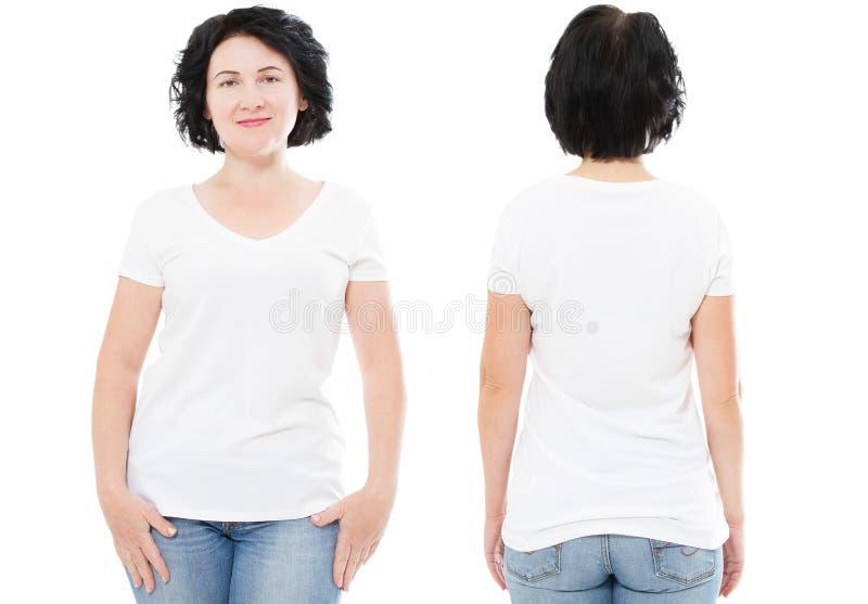 Frente en blanco del sistema de la camiseta, parte posterior, parte posterior con la hembra en el fondo blanco - mujer imágenes de archivo libres de regalías