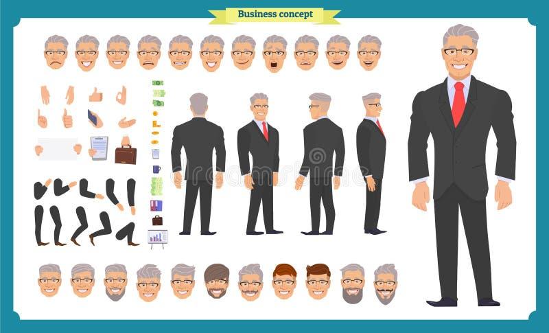 Frente, lado, carácter animado de la visión trasera Sistema de la creación del carácter del encargado libre illustration