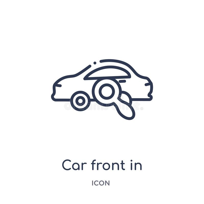 Frente linear del coche en el icono de cristal de la lupa de la colección del esquema de Mechanicons Línea fina frente del coche  ilustración del vector