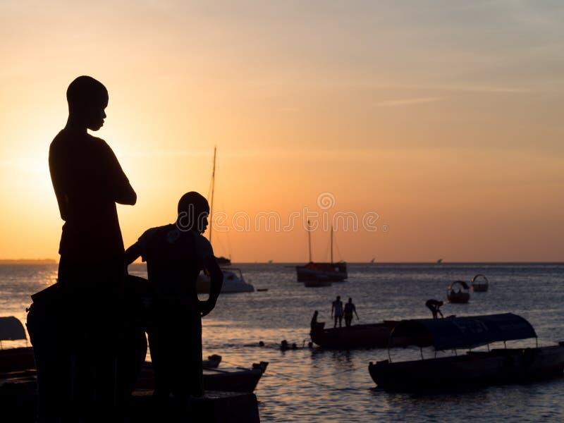 Frente marítima na cidade de pedra, Zanzibar, Tanzânia foto de stock royalty free