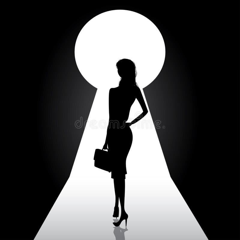 Frente permanente de la silueta de la mujer de negocios del ojo de la cerradura de la puerta stock de ilustración
