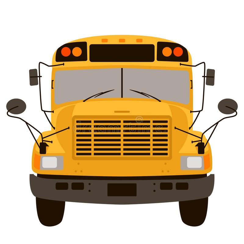 Frente plano del estilo del autobús escolar del ejemplo amarillo del vector ilustración del vector