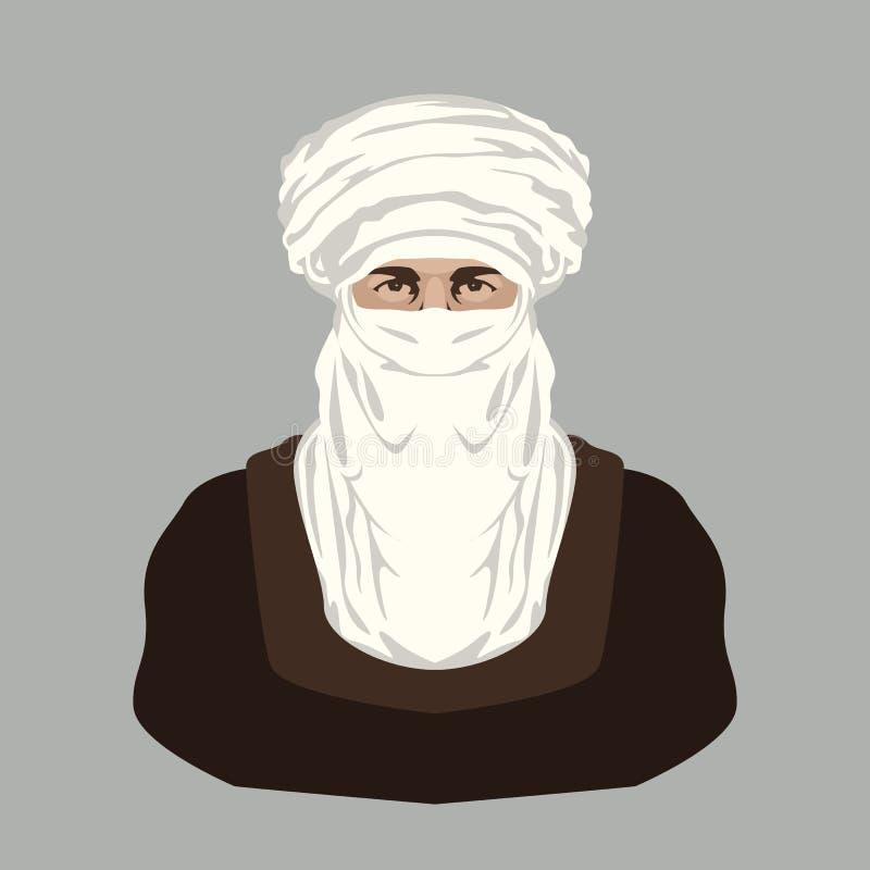 Frente plano del estilo de la cara del ejemplo beduino árabe del vector libre illustration