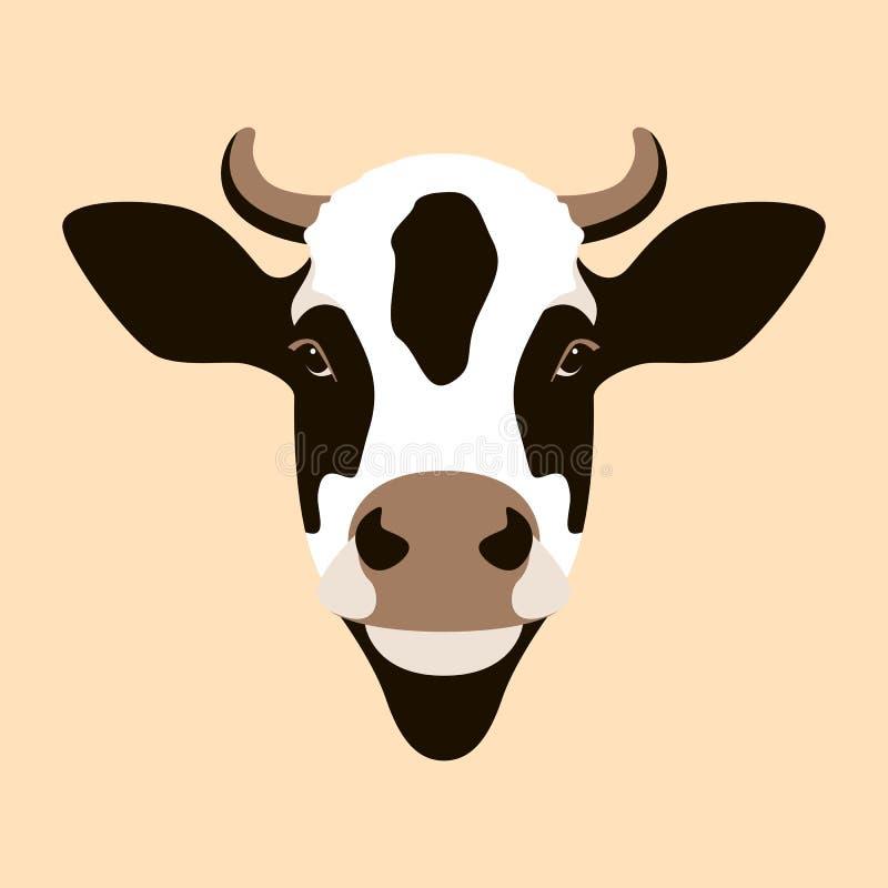 Frente plano del estilo del ejemplo del vector de la cara de la vaca ilustración del vector