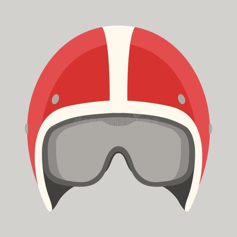 Frente plano del estilo del ejemplo del vector de la motocicleta del casco libre illustration