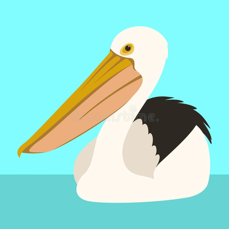 Frente plano del estilo del ejemplo del vector del pelícano blanco libre illustration
