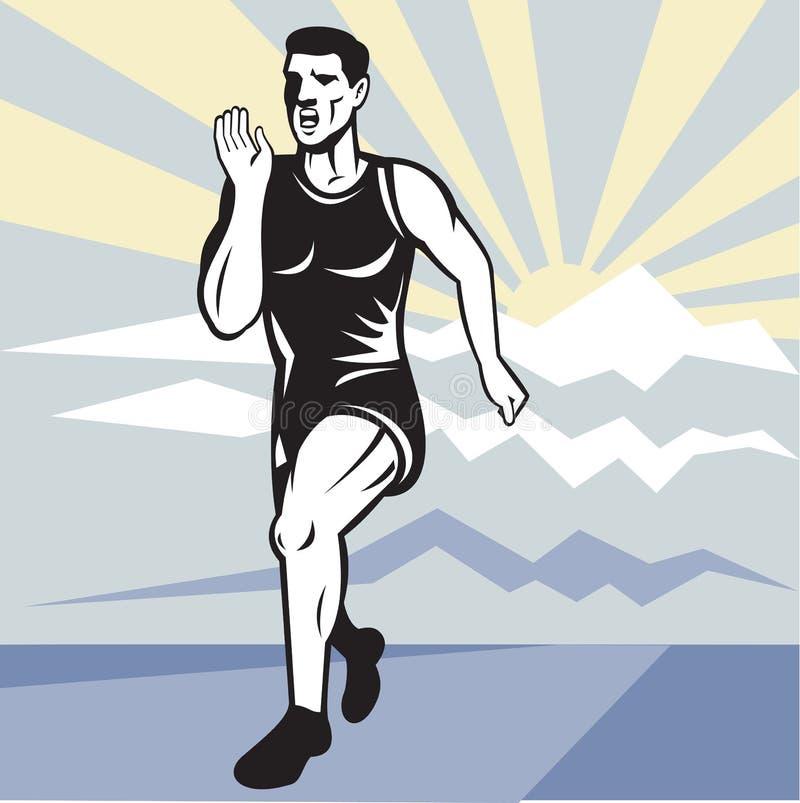 Frente que se ejecuta de la aptitud del basculador del corredor de maratón ilustración del vector
