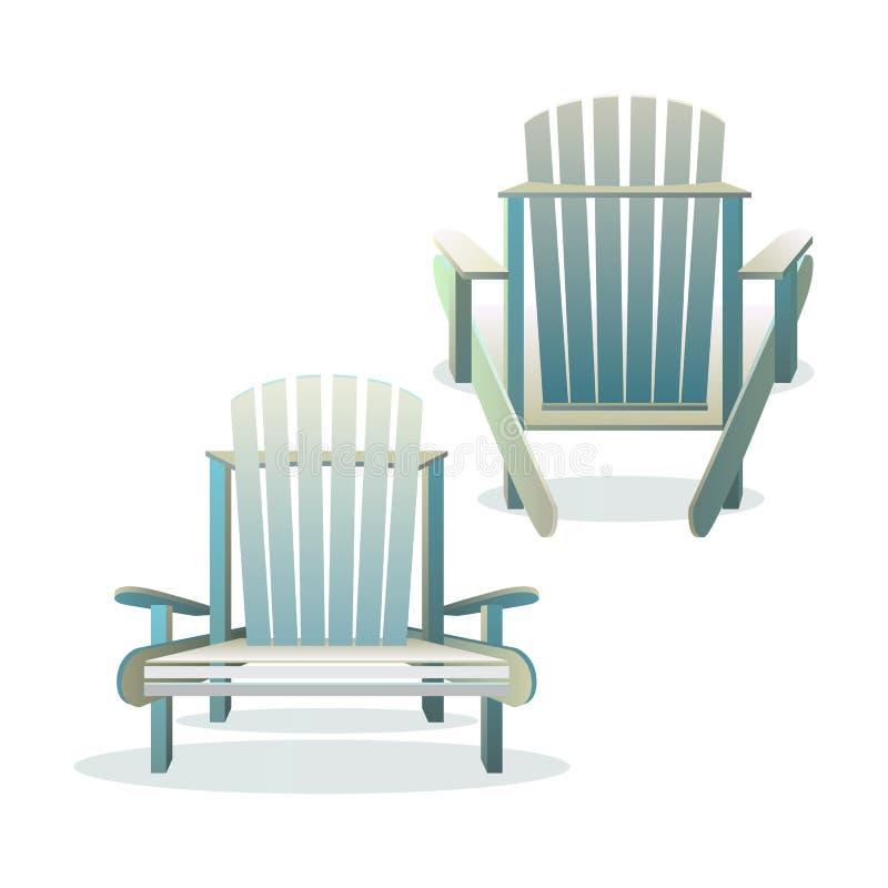 Frente y parte posterior de madera de la silla de Adirondack stock de ilustración