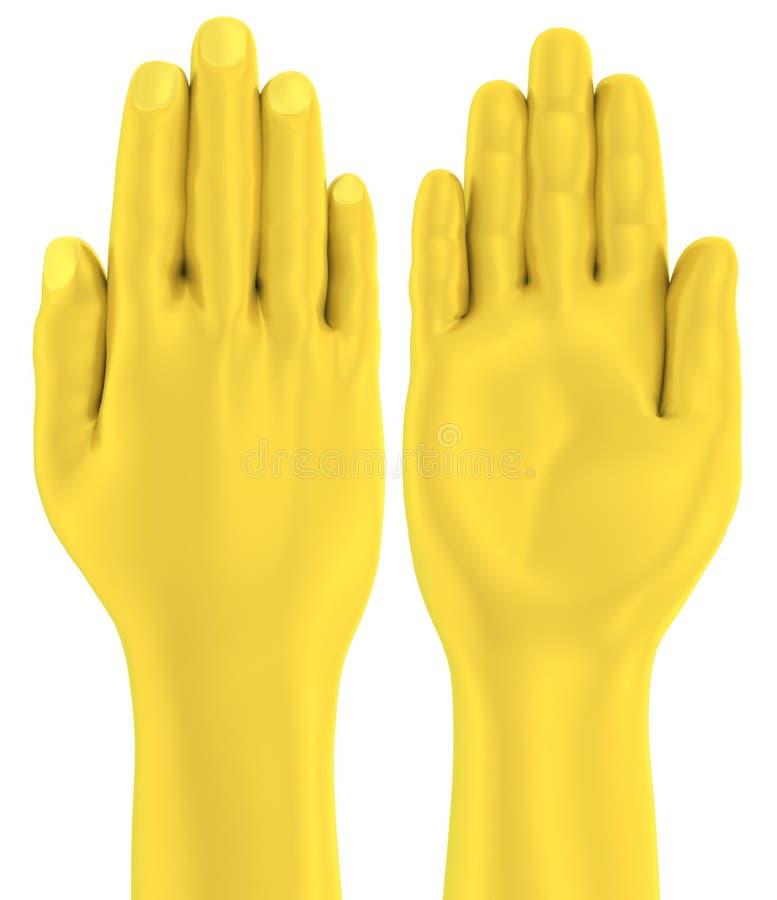frente y parte posterior planos de la palma de la mano de oro 3D stock de ilustración
