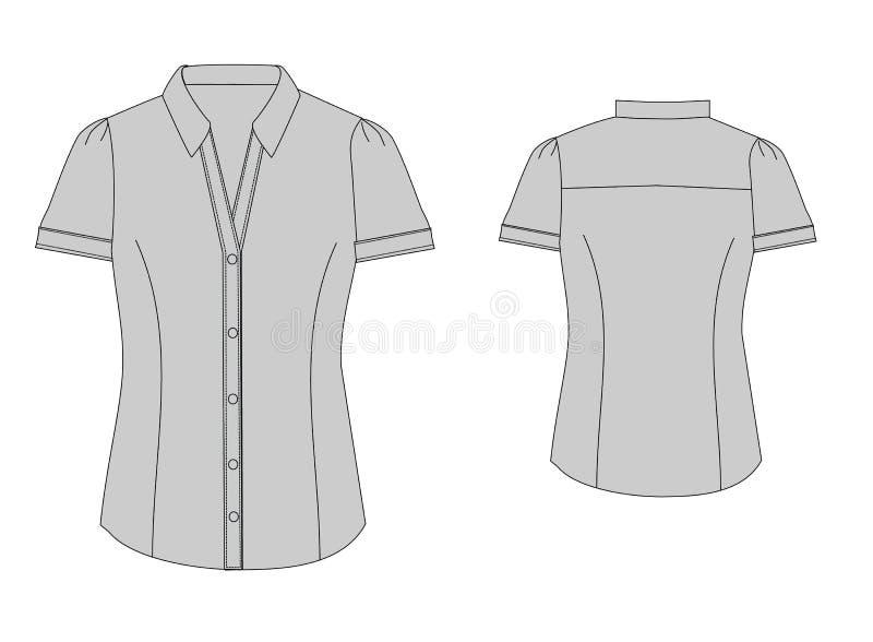 Frente y parte posterior técnicos del bosquejo de la camisa básica de la mujer stock de ilustración