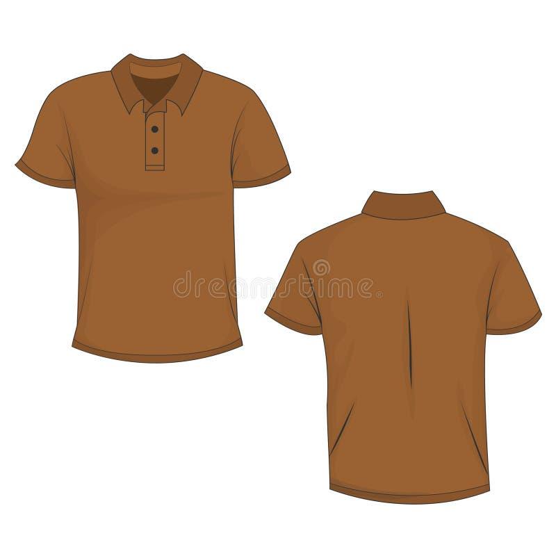 Frente y vista trasera de la camiseta marrón del polo ilustración del vector