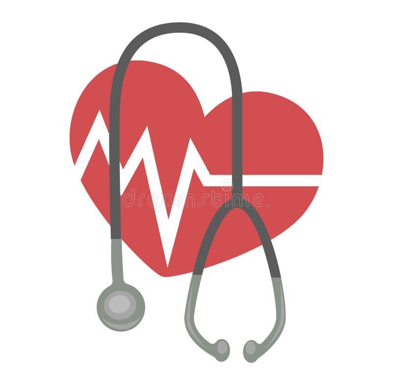 Frequência cardíaca e de medicina e de cardiologia do estetoscópio ícone isolado cuidados médicos ilustração stock