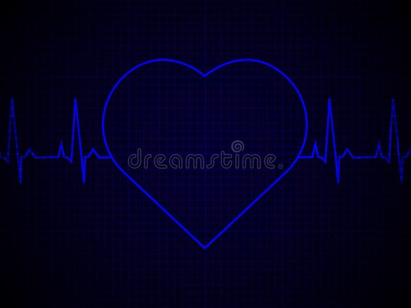 Frequência cardíaca, pulsação do coração, linha de néon, no fundo gráfico azul ilustração do vetor