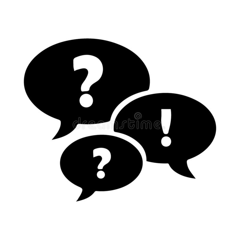Frequency Ask Question Icon, black Icon Color. Good for your web or mobile app stock illustration