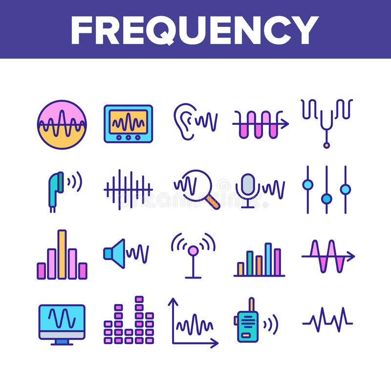 Frequency Pulse Wave Collection Icons Set Vector stock illustration