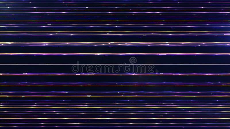 Frequenti particelle multicolori orizzontali parallele futuristiche Lin illustrazione vettoriale