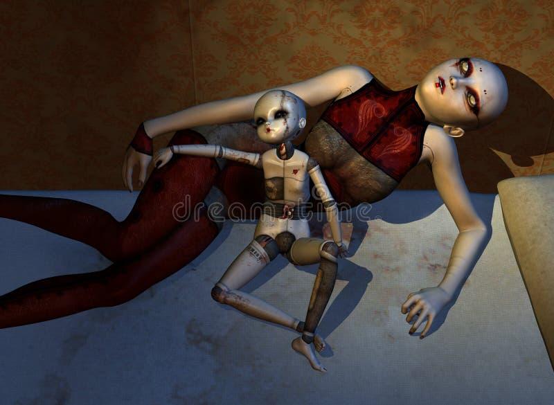 Frequentierte Puppen schlafen nie lizenzfreie abbildung