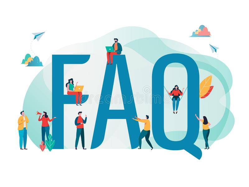 Frequently asked questions concept. People`s with big letter word. Flat cartoon character graphic design. Landing page. Template,banner,flyer,poster,web page stock illustration