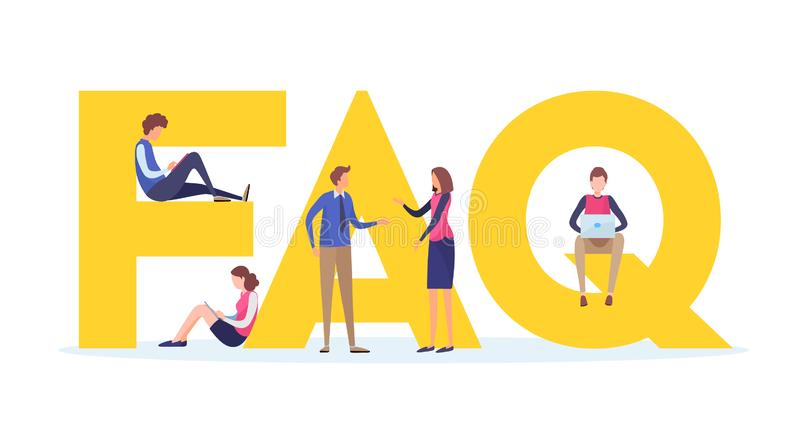 Frequently asked questions concept. People`s with big letter word. Flat cartoon miniature illustration vector graphic. Frequently asked questions concept royalty free illustration