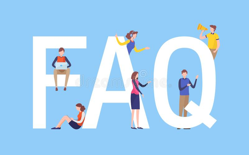 Frequently asked questions concept. People`s with big letter word. Flat cartoon miniature illustration vector graphic. On white background. landing page for stock illustration